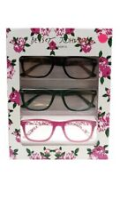 BETSEY JOHNSON  3 pk Floral Black Green Pink Readers Glasses +2.0 NIB