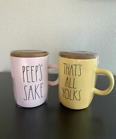 Rae Dunn Easter Mugs Peeps Sake & That's All Yolks Mug Set New Coffee W/ Coaster