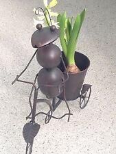 WIE NEU! Große Ameise auf Fahrrad mit Blumentopf Deko Haus/Balkon/Garten Eisen