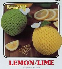 Crochet Luscious Fruit Potholders  Lemon/Lime   AA