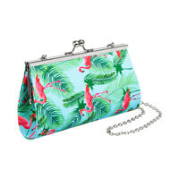 Blue Banana Flamingo Purse, Womens Bird & Leaf Print, Patterned Blue Clutch Bag