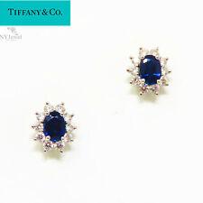 NYJEWEL Tiffany & Co Platinum 2.7 CTW Blue Sapphire Diamond Earrings