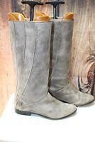 Frye 6.5 M Gray Leather Flat Dress Women's Mid Calf Boots