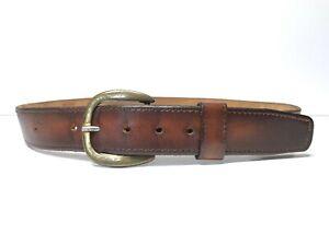 Men's Vintage Levi's Brown Leather Jeans Belt Size 38 Gold Buckle Made in US