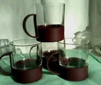 Retro Cup Mug set of 4 Vintage Plastic Cup Holder with Glass Insert 1970s maroon
