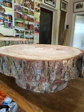 "16"" (40cm) Rustic Raised Wooden Wedding cake stand, centerpiece, log stand"