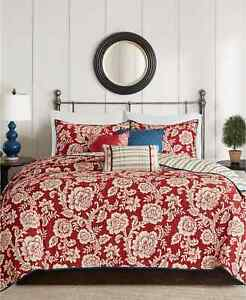 Madison Park Lucy 6-Pc. King/Cal King Cotton Twill Reversible Coverlet Set Red