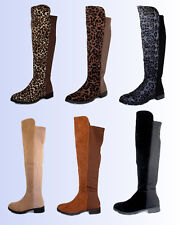 Fifty-50 New Fashion Over the Knee Zipper Women's Suede Boots Black/Gray/Leopard