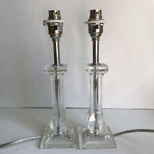 Pair of Homebase Table Lamp Bases Clear Candelabra Style Chrome Modern H29cm