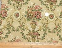 """Antique 19thC French Cotton Jacquard Flowers In Vases Tapestry Fabric~14""""X11"""""""