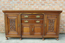 ANTIQUE HEAVY CARVED SCOTTISH MAHOGANY SIDEBOARD CABINET LG FLAT SCREEN TV STAND