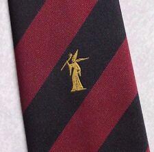 Wizard Magic Tie Crest Logo aziendale Motif 1990s vintage con vino Nero a Righe