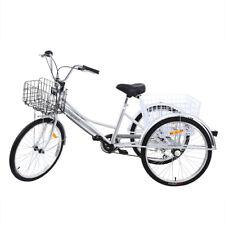 """24"""" Dreirad Fahrrad Einkaufe Dreirad 7-Gang Erwachsenen 2 Korb Radfahren Trike"""