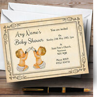 Vintage Twins Baby Shower Personalised Invitations