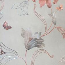 Muriva 701410 Amelia Metallic Floral Stone Rose Gold Wallpaper Cheap Sale