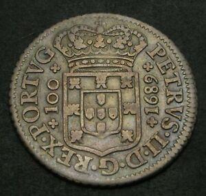 PORTUGAL 120 Reis 1689 - Silver - VF - 1533