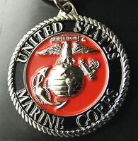 US MARINE CORPS MARINES EMBLEM KEYRING KEY CHAIN RING 1.5 INCHES