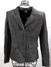 $1295 ARMANI Collezioni Chic Gray Black Tweed Virgin Wool Blazer Jacket 12 L NWT