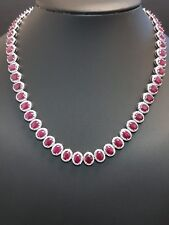 RRP £20000..Exclusive Natural Diamond And Ruby Designer Necklace,18KW.Gold -77ct