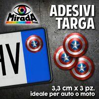 ADESIVI STICKERS BOLLINO TARGA CAPITAN AMERICA COMICS SCUDO AUTO MOTO PLATE CAR