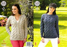 """King Cole Knitting Pattern 4346~Cabled Sweater & Cardigan~Aran~32-44"""""""