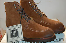 Frye Walter Country Boots Made in U.S.A. Waxed suede Brown Leather NIB 10 Mens