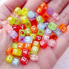 250 x Alphabet Letter Cube Beads, 6mm, Mixed Colours