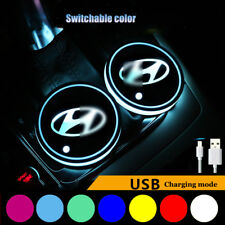 1Pair Colorful LED Car Cup Holder Pad Mat Interior Decoration Lights For Hyundai