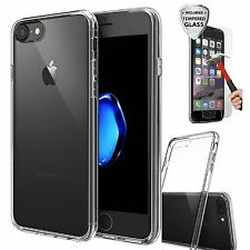 For iPhone 8 Case Silicone Clear Cover Bumper Rubber Shockproof + Tempered Glass