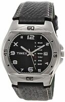 Timex Analog Men's Watch of Fashion Leather Band and Stainless Steel