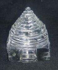 Hand Carved Natural Crystal Shree Yantra 150 Carat Good Luck Prosperity 289