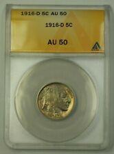 1916-D US Buffalo Nickel 5c Coin ANACS AU-50 (Better)