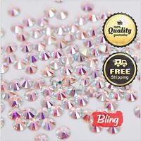 1440pcs Clear Crystal AB Flatback Rhinestone 3D No Hotfix Nail Art Manicure pedi