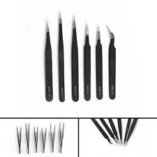 6x Pro Coated Precision Tweezers Set Kit Stainless Steel Non-Magnetic Antistatic