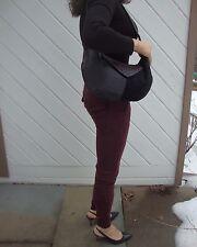 Sabrina Scala Black Leather and Suede Hobo Shoulder Bag