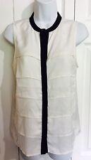 RW & CO Ivory White, Black Tiered Satin Button Down Blouse Shirt XS XSMALL