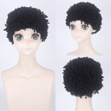 Kids Child Short Black Curly Wave Wigs Clown Funny Party Show Wigs Cosplay Hairs