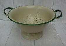 More details for vintage cream & green enamel strainer colander sieve