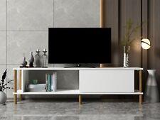 White TV Cabinet Stand Unit Wooden Media Storage Space Shelves - Paris White