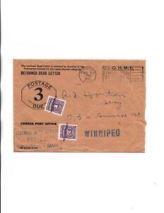 Webb#PDEN356  Winnipeg,Man RETURNED DEAD LETTER postage due 1939