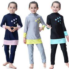 Kids Girls Muslim Islamic Swimwear Swimsuit Swimming Costume Burkini Beachwear