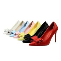 Ladies Pointed Toe Shoes Synthetic Leather Bowknot High Heels Pumps US Size S026