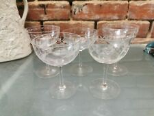 FIVE VINTAGE ANTIQUE ETCHED AND CUT GLASS CHAMPAGNE BOWLS 11CMS TO 12.5CMS