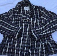 Oleg Cassini Womens 1X Winter Jacket Pea Coat Purple Black White EUC Lot WC