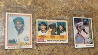 (3) Mookie Wilson 1981 Topps Donruss Rookie Card Lot RC Mets Brooks 1989 Upper