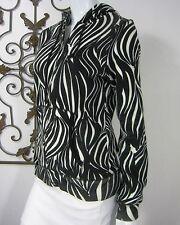 Ezekiel Long Sleeve Sport Top Hooded Sweat Size M medium Black and White zebra