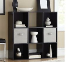 9-Cube Black Finish Storage Organizer W/ Stackable Unit Living Room Furniture