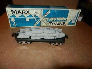 MARX #7356 Flat Car with Sand Bag Load, 6 inch, New Production, OB, 8 Wheel