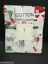COTTON 3pc Pottery Barn Kids SANTAS WORKSHOP TWIN SHEET Christmas North Pole NEW