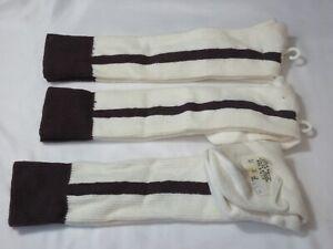 Lot of 3 - VENUS KNITTING Youth Size 6-8.5 Maroon/White Stirrups Baseball Socks
